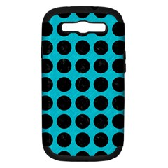 Circles1 Black Marble & Turquoise Colored Pencil Samsung Galaxy S Iii Hardshell Case (pc+silicone) by trendistuff