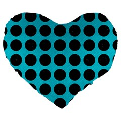 Circles1 Black Marble & Turquoise Colored Pencil Large 19  Premium Heart Shape Cushions by trendistuff