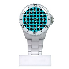 Circles1 Black Marble & Turquoise Colored Pencil Plastic Nurses Watch by trendistuff