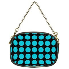 Circles1 Black Marble & Turquoise Colored Pencil (r) Chain Purses (one Side)  by trendistuff