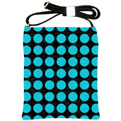 Circles1 Black Marble & Turquoise Colored Pencil (r) Shoulder Sling Bags by trendistuff
