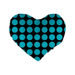 Circles1 Black Marble & Turquoise Colored Pencil (r) Standard 16  Premium Heart Shape Cushions by trendistuff