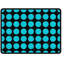 Circles1 Black Marble & Turquoise Colored Pencil (r) Double Sided Fleece Blanket (large)  by trendistuff