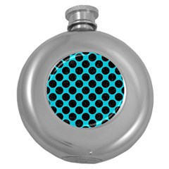 Circles2 Black Marble & Turquoise Colored Pencil Round Hip Flask (5 Oz) by trendistuff