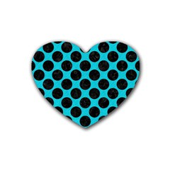 Circles2 Black Marble & Turquoise Colored Pencil Heart Coaster (4 Pack)  by trendistuff