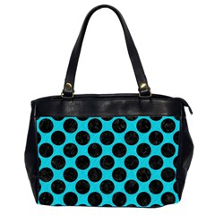 Circles2 Black Marble & Turquoise Colored Pencil Office Handbags (2 Sides)  by trendistuff