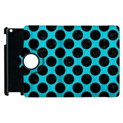 Circles2 Black Marble & Turquoise Colored Pencil Apple Ipad 3/4 Flip 360 Case by trendistuff