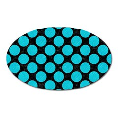 Circles2 Black Marble & Turquoise Colored Pencil (r) Oval Magnet by trendistuff