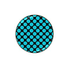 Circles2 Black Marble & Turquoise Colored Pencil (r) Hat Clip Ball Marker by trendistuff