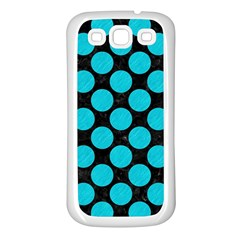 Circles2 Black Marble & Turquoise Colored Pencil (r) Samsung Galaxy S3 Back Case (white) by trendistuff