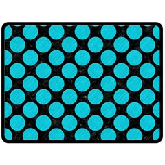 Circles2 Black Marble & Turquoise Colored Pencil (r) Double Sided Fleece Blanket (large)