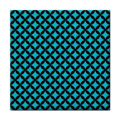 Circles3 Black Marble & Turquoise Colored Pencil Face Towel by trendistuff