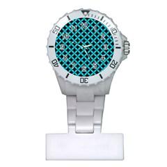 Circles3 Black Marble & Turquoise Colored Pencil (r) Plastic Nurses Watch by trendistuff