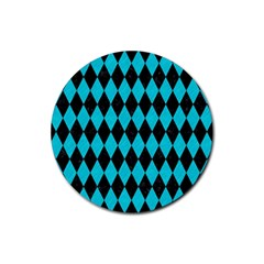 Diamond1 Black Marble & Turquoise Colored Pencil Rubber Round Coaster (4 Pack)  by trendistuff
