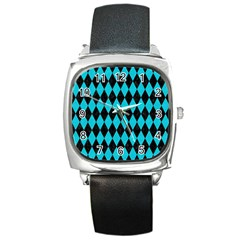 Diamond1 Black Marble & Turquoise Colored Pencil Square Metal Watch by trendistuff