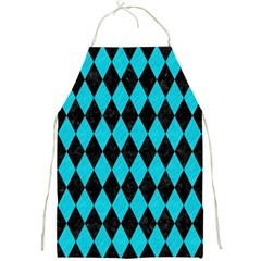 Diamond1 Black Marble & Turquoise Colored Pencil Full Print Aprons by trendistuff