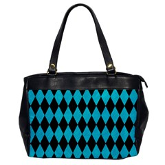 Diamond1 Black Marble & Turquoise Colored Pencil Office Handbags by trendistuff