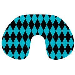 Diamond1 Black Marble & Turquoise Colored Pencil Travel Neck Pillows by trendistuff