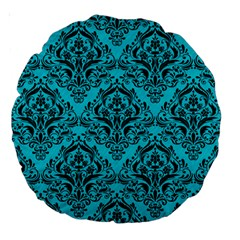Damask1 Black Marble & Turquoise Colored Pencil Large 18  Premium Round Cushions by trendistuff