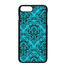 Damask1 Black Marble & Turquoise Colored Pencil Apple Iphone 7 Plus Seamless Case (black)