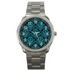 Damask1 Black Marble & Turquoise Colored Pencil (r) Sport Metal Watch by trendistuff