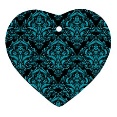 Damask1 Black Marble & Turquoise Colored Pencil (r) Heart Ornament (two Sides) by trendistuff