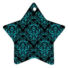 Damask1 Black Marble & Turquoise Colored Pencil (r) Star Ornament (two Sides) by trendistuff
