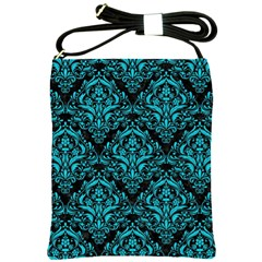 Damask1 Black Marble & Turquoise Colored Pencil (r) Shoulder Sling Bags by trendistuff