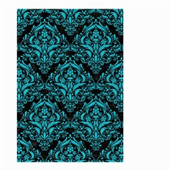 Damask1 Black Marble & Turquoise Colored Pencil (r) Small Garden Flag (two Sides) by trendistuff