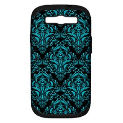 Damask1 Black Marble & Turquoise Colored Pencil (r) Samsung Galaxy S Iii Hardshell Case (pc+silicone) by trendistuff