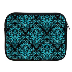 Damask1 Black Marble & Turquoise Colored Pencil (r) Apple Ipad 2/3/4 Zipper Cases by trendistuff