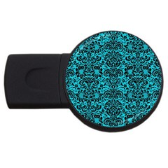 Damask2 Black Marble & Turquoise Colored Pencil Usb Flash Drive Round (4 Gb) by trendistuff