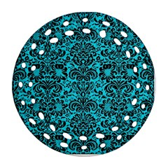 Damask2 Black Marble & Turquoise Colored Pencil Ornament (round Filigree) by trendistuff