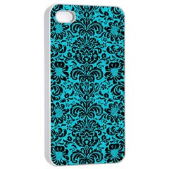 Damask2 Black Marble & Turquoise Colored Pencil Apple Iphone 4/4s Seamless Case (white) by trendistuff