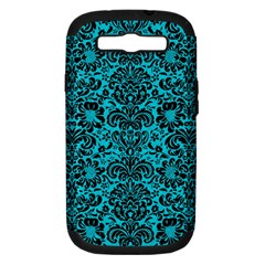 Damask2 Black Marble & Turquoise Colored Pencil Samsung Galaxy S Iii Hardshell Case (pc+silicone) by trendistuff