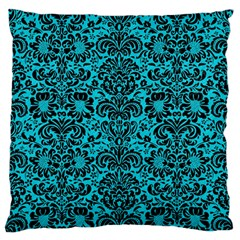Damask2 Black Marble & Turquoise Colored Pencil Standard Flano Cushion Case (two Sides)