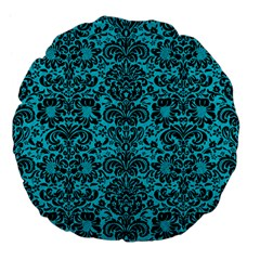 Damask2 Black Marble & Turquoise Colored Pencil Large 18  Premium Flano Round Cushions by trendistuff