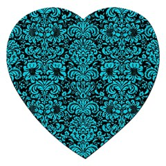 Damask2 Black Marble & Turquoise Colored Pencil (r) Jigsaw Puzzle (heart) by trendistuff