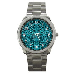 Damask2 Black Marble & Turquoise Colored Pencil (r) Sport Metal Watch by trendistuff
