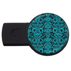 Damask2 Black Marble & Turquoise Colored Pencil (r) Usb Flash Drive Round (4 Gb) by trendistuff