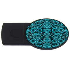 Damask2 Black Marble & Turquoise Colored Pencil (r) Usb Flash Drive Oval (4 Gb) by trendistuff
