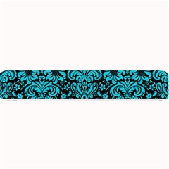Damask2 Black Marble & Turquoise Colored Pencil (r) Small Bar Mats by trendistuff