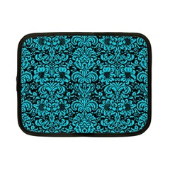 Damask2 Black Marble & Turquoise Colored Pencil (r) Netbook Case (small)  by trendistuff
