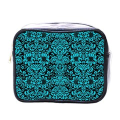Damask2 Black Marble & Turquoise Colored Pencil (r) Mini Toiletries Bags by trendistuff