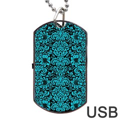 Damask2 Black Marble & Turquoise Colored Pencil (r) Dog Tag Usb Flash (two Sides) by trendistuff