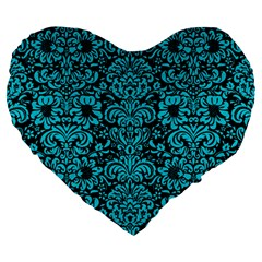 Damask2 Black Marble & Turquoise Colored Pencil (r) Large 19  Premium Heart Shape Cushions by trendistuff
