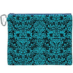 Damask2 Black Marble & Turquoise Colored Pencil (r) Canvas Cosmetic Bag (xxxl) by trendistuff