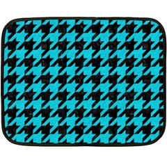 Houndstooth1 Black Marble & Turquoise Colored Pencil Double Sided Fleece Blanket (mini)  by trendistuff