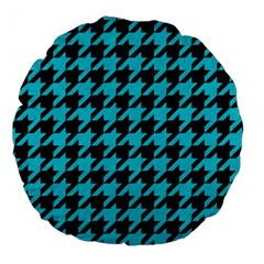 Houndstooth1 Black Marble & Turquoise Colored Pencil Large 18  Premium Round Cushions by trendistuff