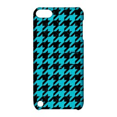 Houndstooth1 Black Marble & Turquoise Colored Pencil Apple Ipod Touch 5 Hardshell Case With Stand by trendistuff